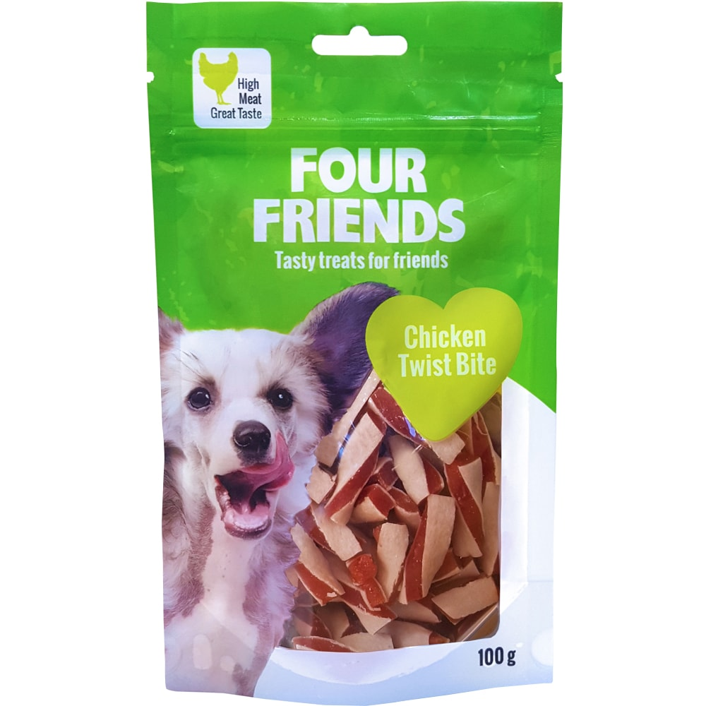 Hundegodis  Chicken Twist Bite 100 g FourFriends