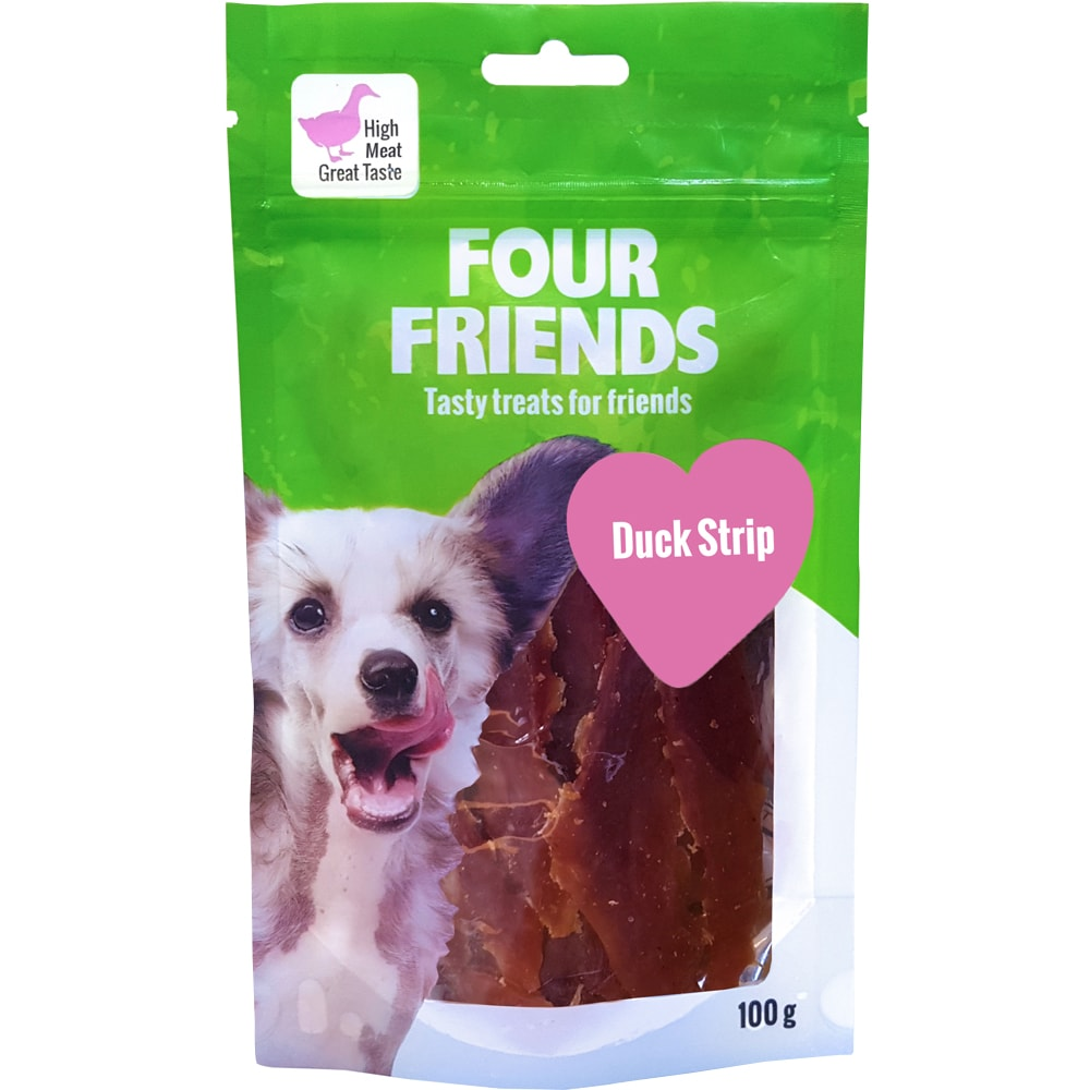 Hundegodis  Duck Stripe 100 g FourFriends