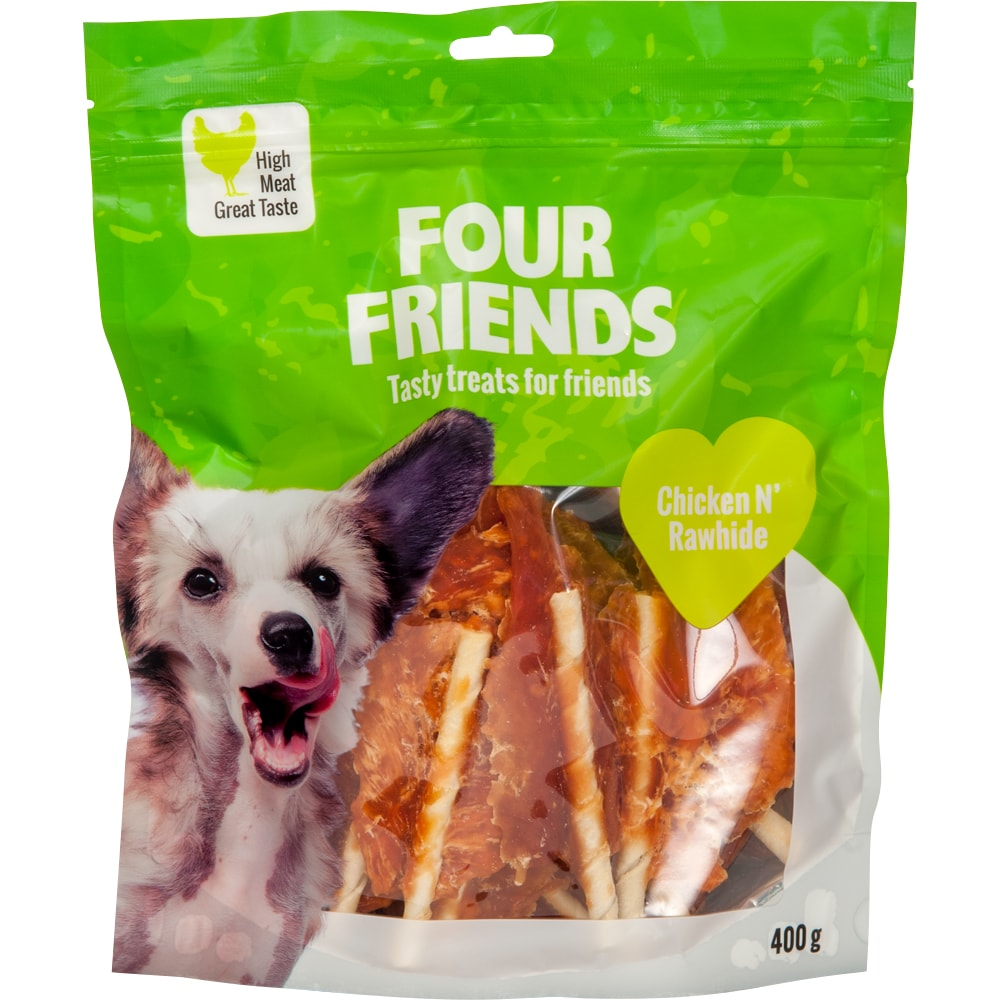 Hundegodis  Chicken N´Rawhide 400 g FourFriends