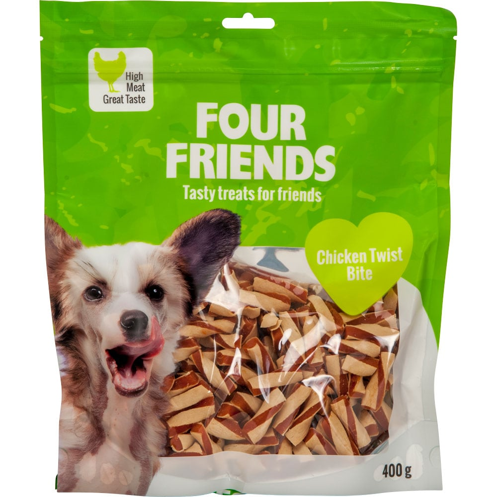 Hundegodis  Chicken Twist Bite 400 g FourFriends